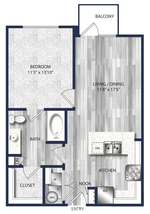 671 sq. ft. to 704 sq. ft. A2 floor plan