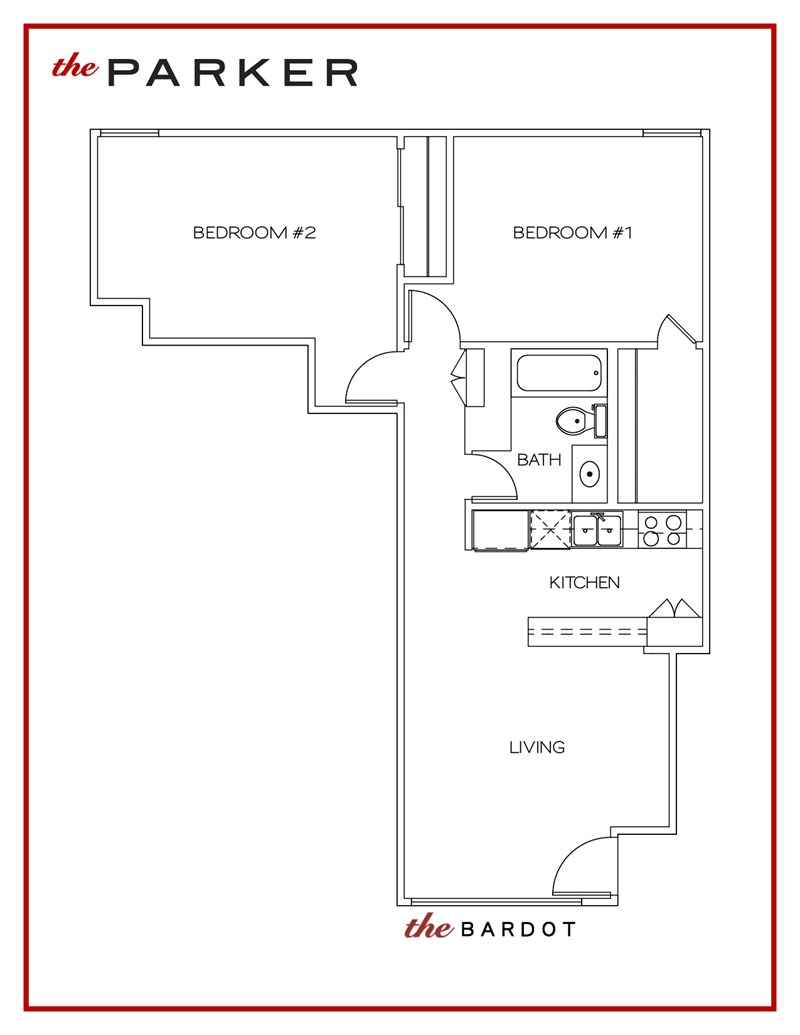 736 sq. ft. Bardot floor plan