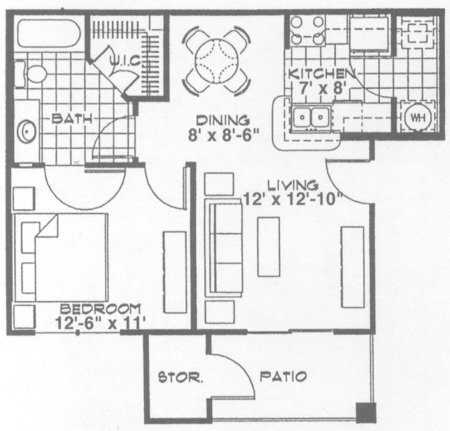 604 sq. ft. A1 floor plan