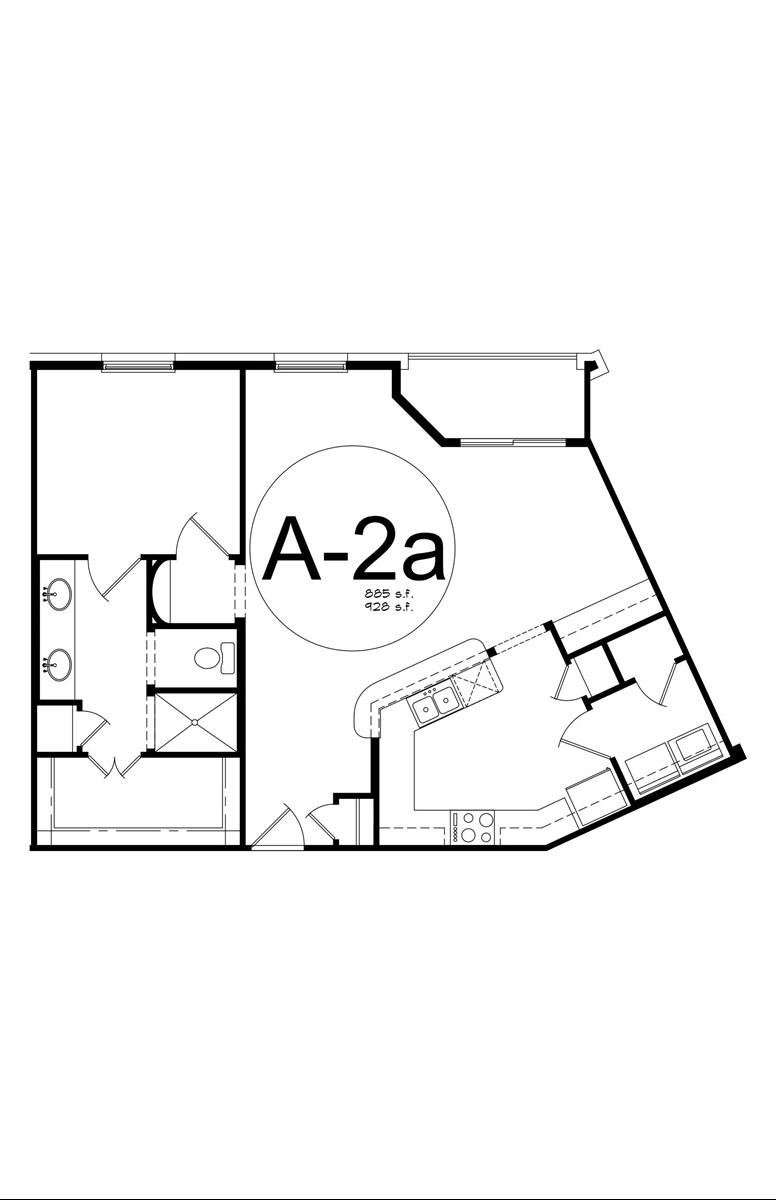 928 sq. ft. A2A floor plan