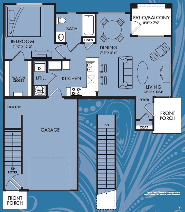 726 sq. ft. Axis floor plan