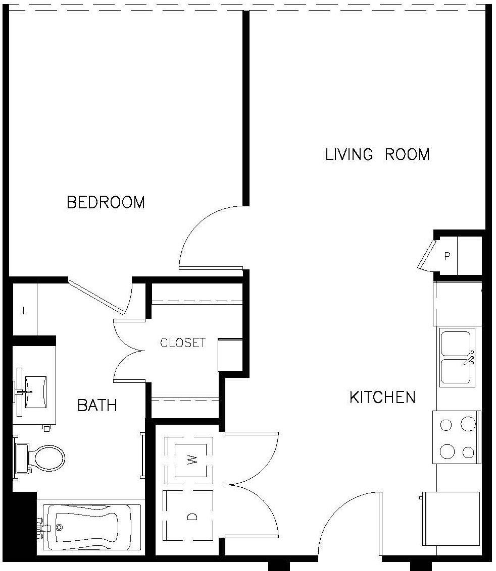 604 sq. ft. A1 floor plan