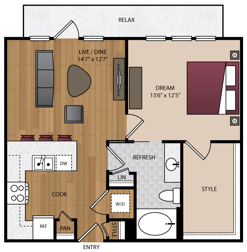 739 sq. ft. A2.1 floor plan
