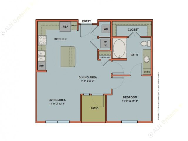 719 sq. ft. A3 floor plan