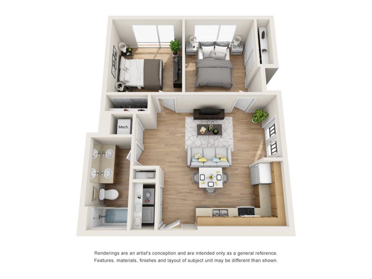 765 sq. ft. A3 floor plan
