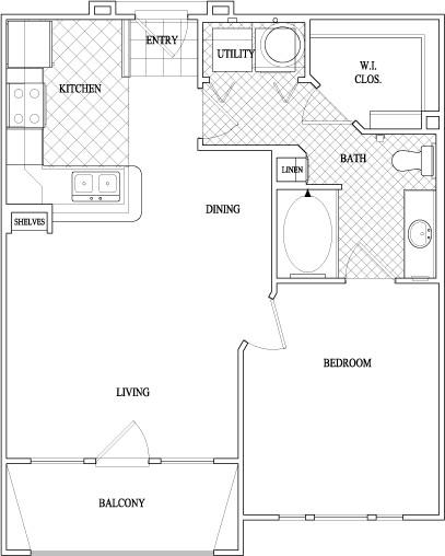 670 sq. ft. floor plan