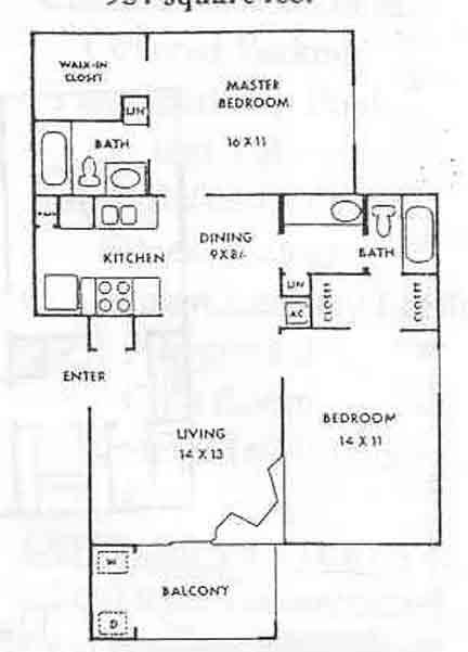 954 sq. ft. Clearwater/B1 floor plan