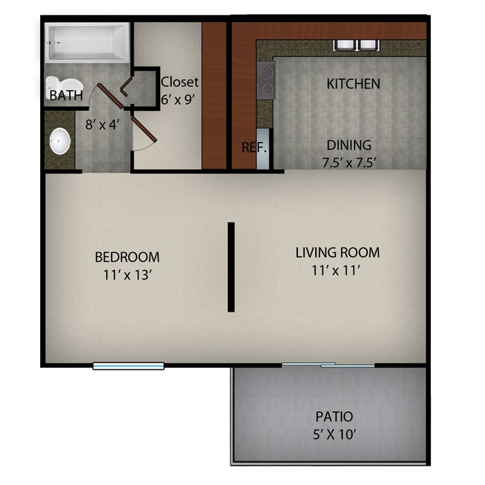 576 sq. ft. floor plan