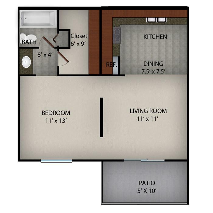 576 sq. ft. A floor plan
