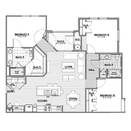 1,273 sq. ft. C1 floor plan