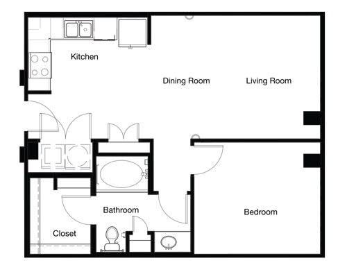 702 sq. ft. A1C-II floor plan