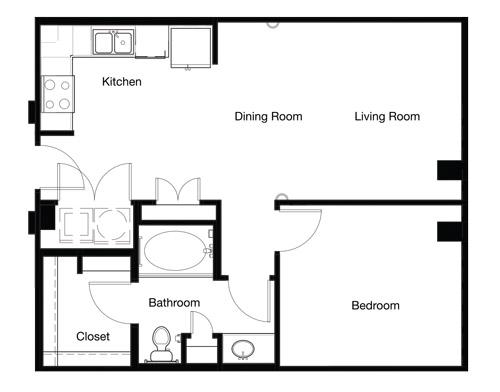 715 sq. ft. A1B floor plan