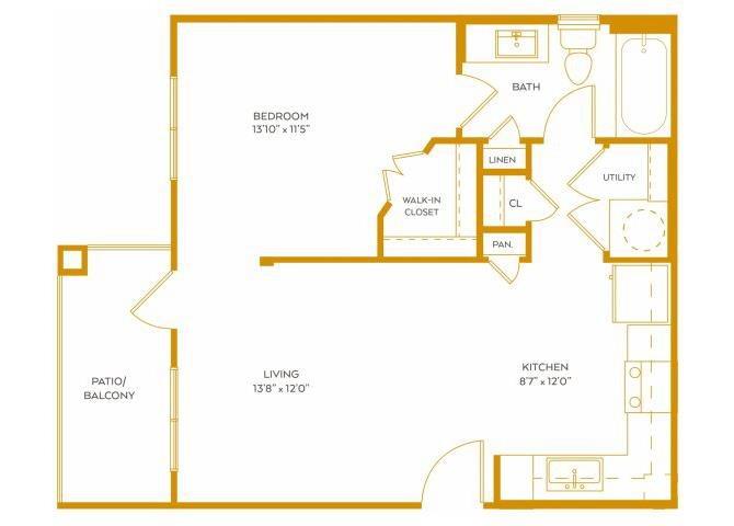 591 sq. ft. A0 floor plan