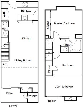 1,036 sq. ft. B1 floor plan