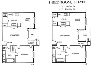 608 sq. ft. 1-1A floor plan