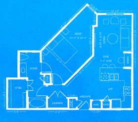842 sq. ft. to 904 sq. ft. A3 floor plan
