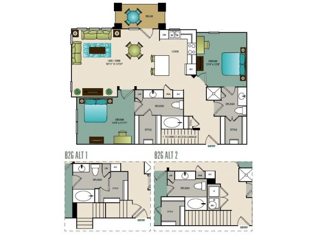 1,149 sq. ft. B2G floor plan