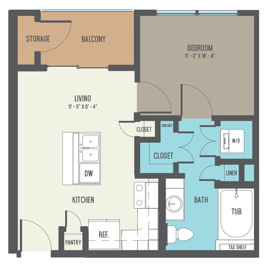 497 sq. ft. A1 floor plan