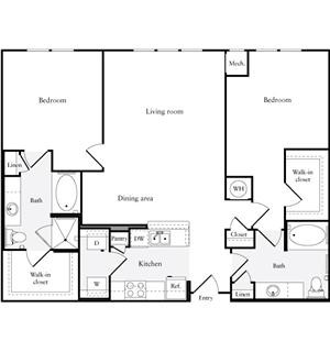 1,305 sq. ft. floor plan