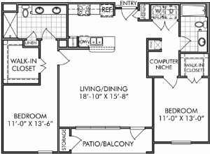 1,159 sq. ft. B3 floor plan