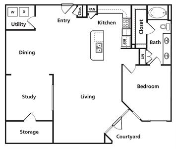 1,310 sq. ft. C2 floor plan