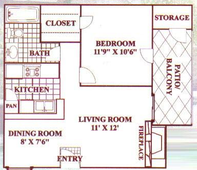 588 sq. ft. B floor plan