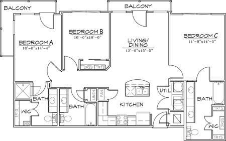 1,149 sq. ft. floor plan