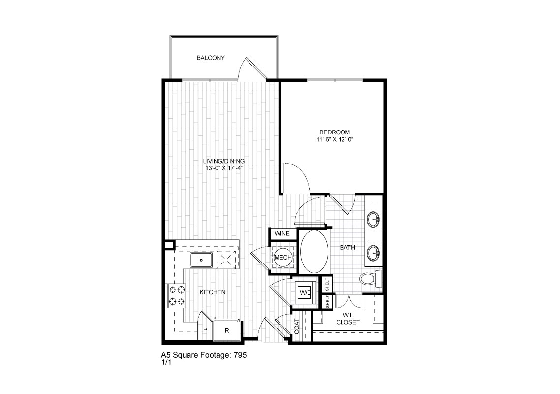 795 sq. ft. A5 floor plan