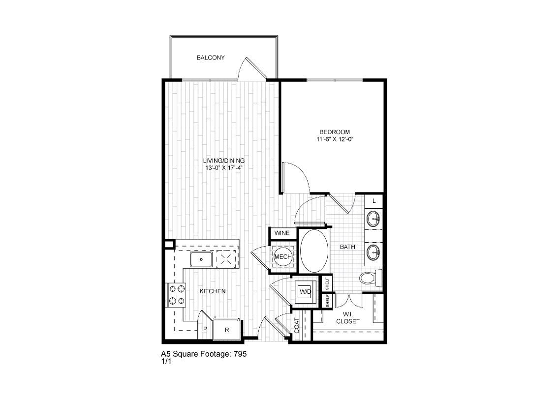 735 sq. ft. A5 floor plan