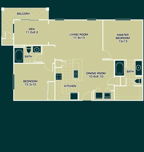 1,161 sq. ft. B2 floor plan