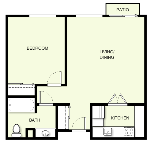 615 sq. ft. to 693 sq. ft. floor plan