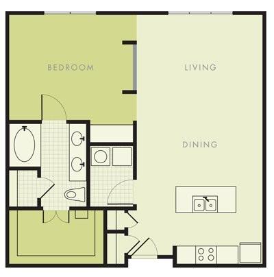 845 sq. ft. A4 floor plan
