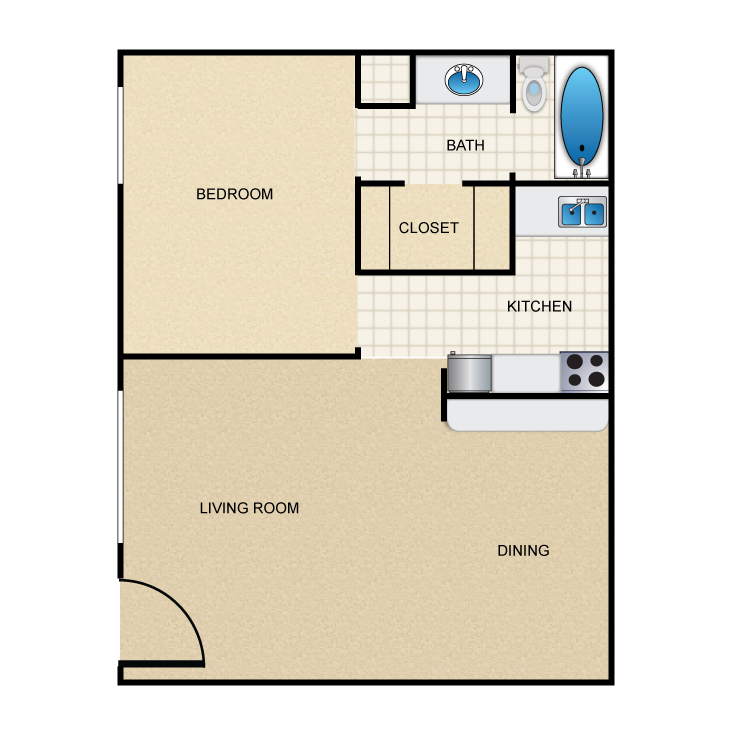 436 sq. ft. A2 floor plan