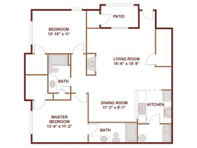 1,171 sq. ft. 22C floor plan