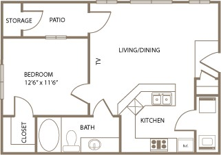 639 sq. ft. Sussex floor plan