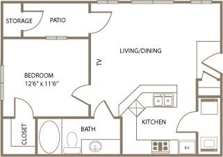 639 sq. ft. SUSSEX floor plan