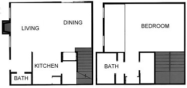1,146 sq. ft. L Townhome floor plan