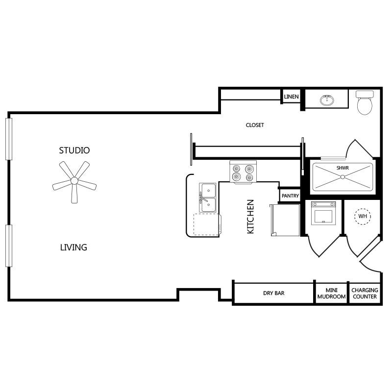 680 sq. ft. S1 floor plan