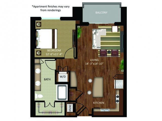 842 sq. ft. A17 floor plan