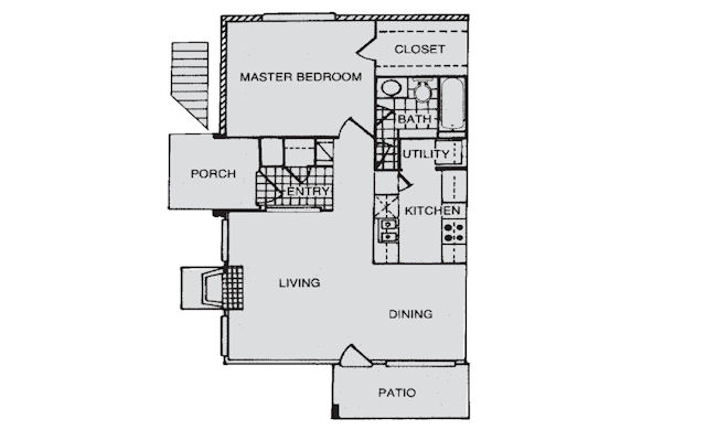 776 sq. ft. A floor plan