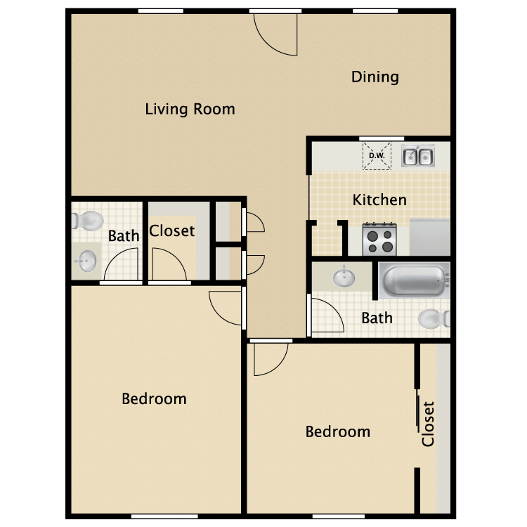 903 sq. ft. Virginian floor plan