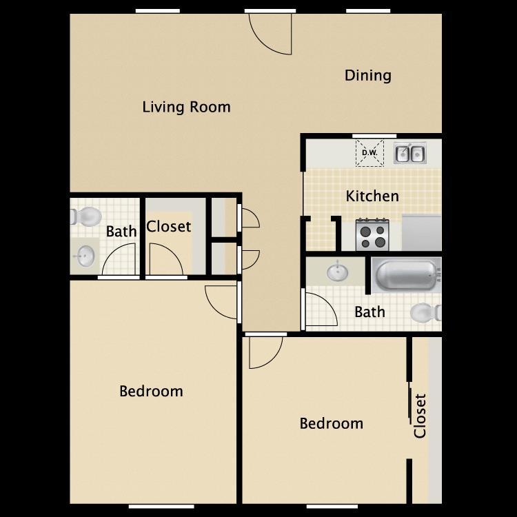 903 sq. ft. Virginian floor plan