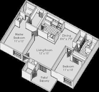 863 sq. ft. C floor plan