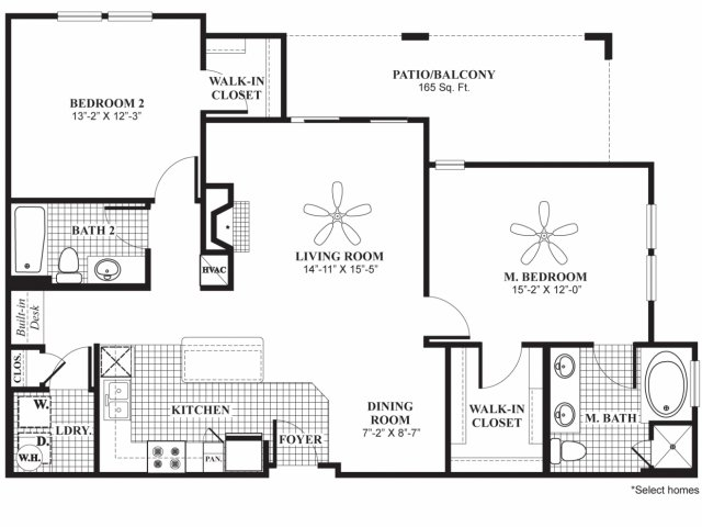 1,212 sq. ft. B3 floor plan