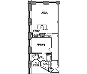 947 sq. ft. A9 floor plan