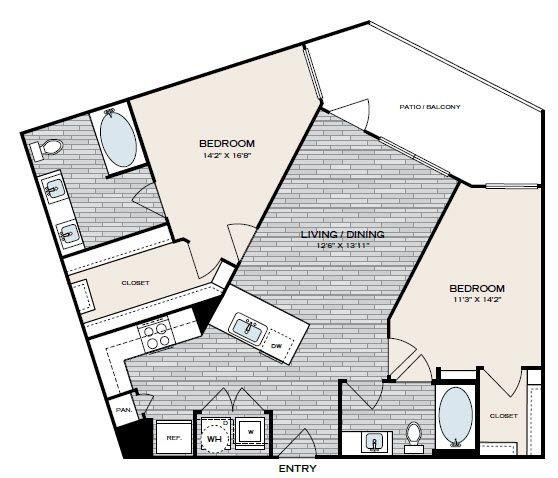984 sq. ft. B4 floor plan