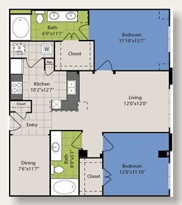 1,153 sq. ft. B9 floor plan