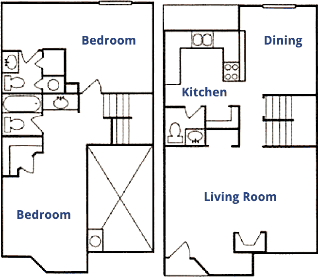 1,156 sq. ft. A floor plan