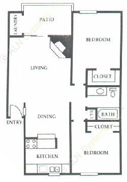 850 sq. ft. E1 floor plan