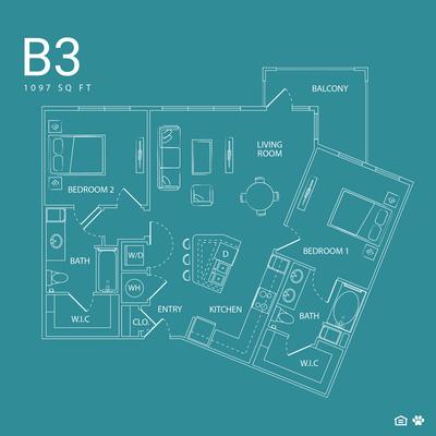 1,097 sq. ft. B3 floor plan